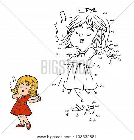Numbers Game For Children: Little Girl In A Red Dress Is Singing A Song