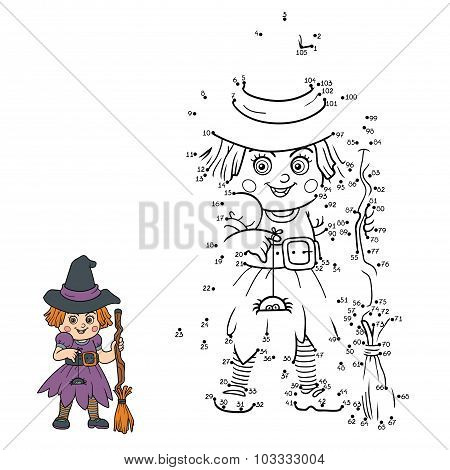 Numbers Game For Children: Halloween Characters (witch)