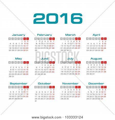 Simple european  2016 year vector calendar