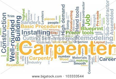 Background concept wordcloud illustration of carpenter