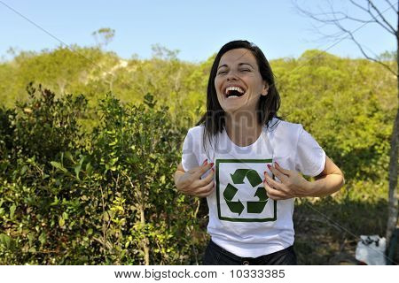 Volunteer Wearing A Recycling T-shirt