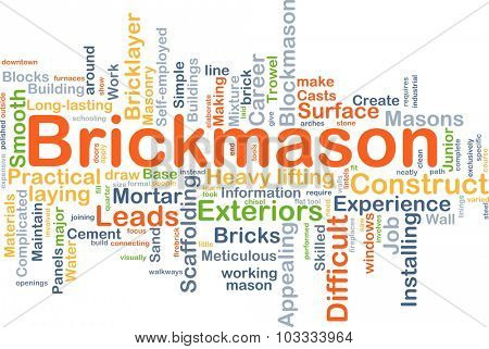 Background concept wordcloud illustration of brickmason