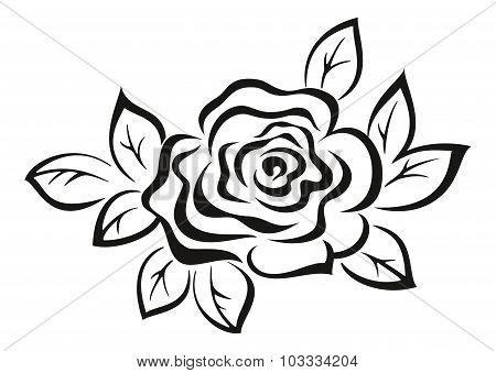 Rose Flower Black Pictogram