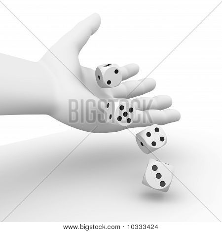 Dice rolling from a hand