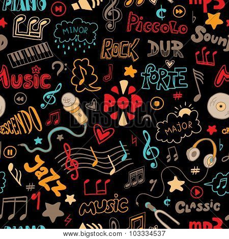 Vector Seamless Pattern Of Hand Drawn Doodles On A Music Theme. Color Music Symbols And Word On A Bl