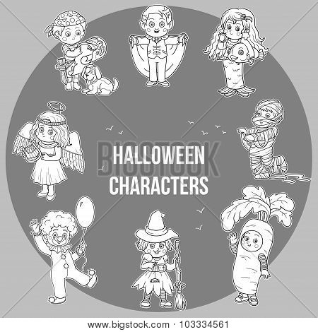 Vector Set Of Halloween Cute Characters, Cartoon Collection, Stickers With Children In Carnival Cost