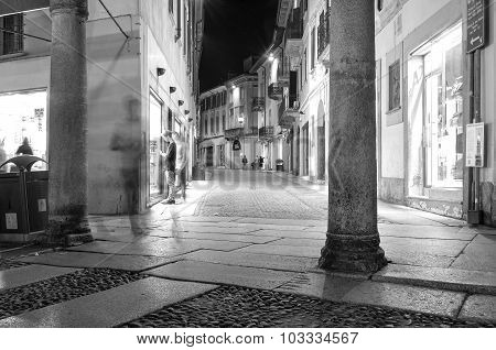 Vigevano by-night. Black and white photo