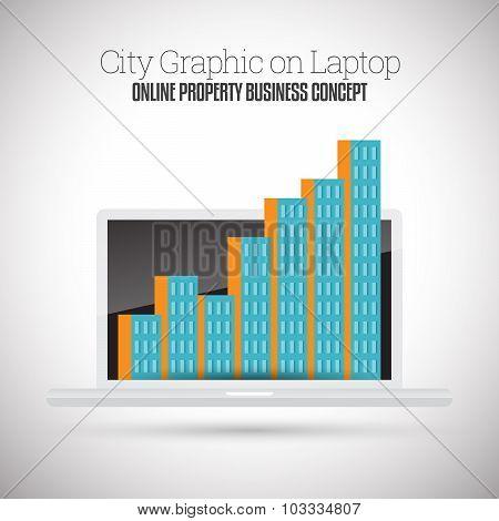 City Graphic On Laptop