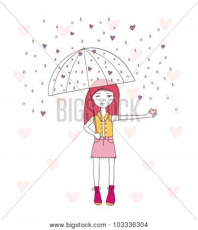 young girl with umbrella caught heart. vector illustration