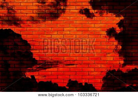 Halloween Background, Brick Wall Reflect From The Hell Sky Color Red And Black Cloud