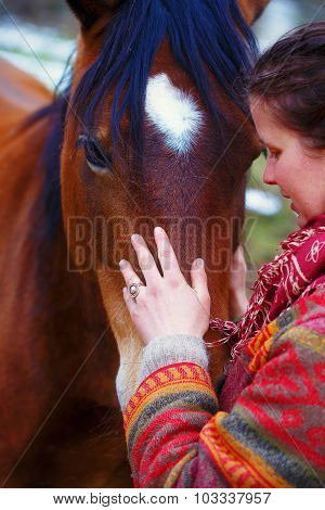 portrait woman and horse in outdoor