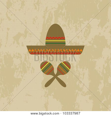 Mexican hat and maracas