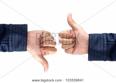 Thumb Up And Thumb Down Hand Signs Isolated On White  , Like & Bad Hand