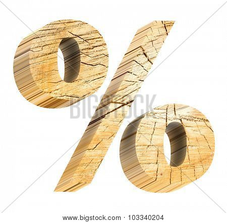 Percent sign from pine wood alphabet set isolated over white. Computer generated 3D photo rendering.