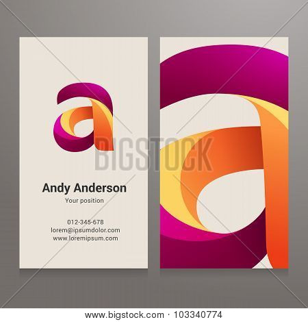 Modern Letter A Twisted Business Card Template