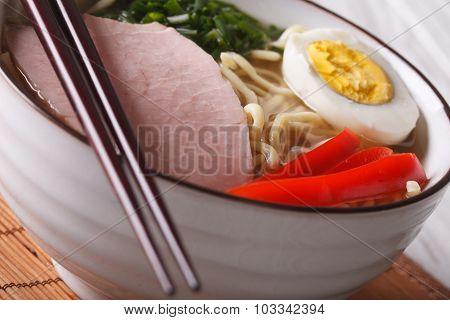 Japanese Food: Noodles Ramen With Pork And Egg Macro. Horizontal