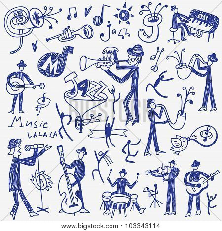 jazz musicians doodles set