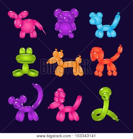 Animal Shaped Colourful Balloons Vector Illustration
