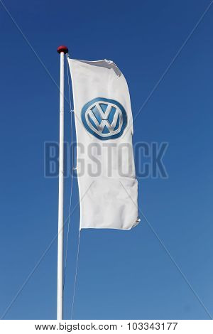 Volkswagen logo on a flag