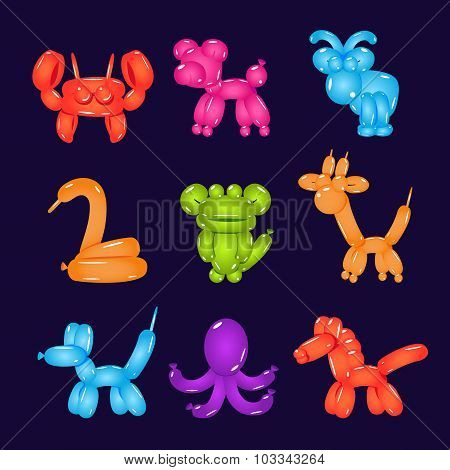 Animal Shaped Bright Balloons Vector Illustration