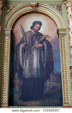 ZAGREB, CROATIA - MAY 28: Saint John of Nepomuk, the altar in the Basilica of the Sacred Heart of Jesus in Zagreb, Croatia on May 28, 2015