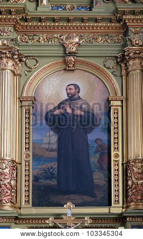 ZAGREB, CROATIA - MAY 28: Saint Francis Xavier, altarpiece in the Basilica of the Sacred Heart of Jesus in Zagreb, Croatia on May 28, 2015
