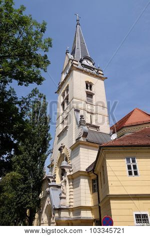 LJUBLJANA, SLOVENIA - JUNE 30: Saint James church in Ljubljana, Slovenia on June 30, 2015