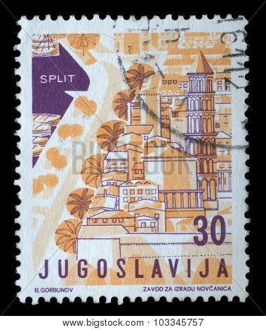 YUGOSLAVIA - CIRCA 1959: A stamp printed in Yugoslavia from the Local Tourism issue shows Split, Croatia, circa 1959.