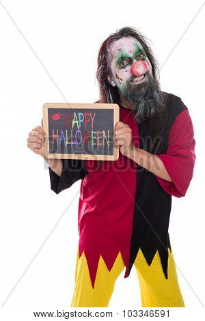 Creepy Clown Holding A Sign, Colorful Text Happy Halloween, Isolated On White