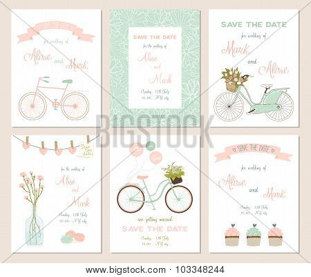 Collection of 6 cute hello summer card templates.
