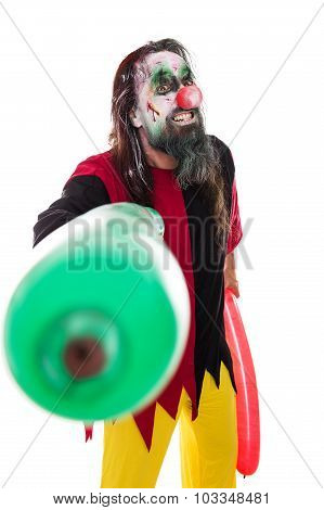 Halloween Costume Of A Creepy Clown With Balloons, Isolated On White