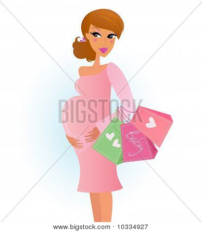 Mother Shopping - Pregnant Woman With Shopping Bags