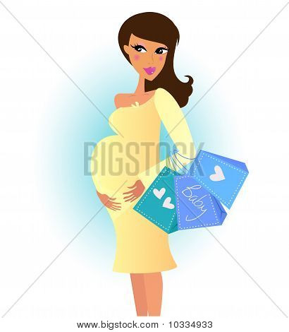 Beautiful Pregnant Woman On Shopping For Her New Baby