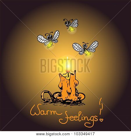 Romantic warm card with Candle and fireflies