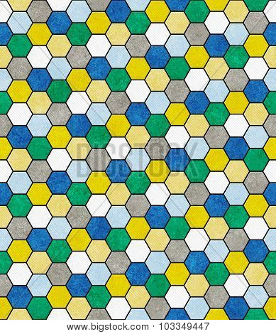 Blue, Green And Yellow Hexagon Mosaic Abstract Geometric Design Tile Pattern Repeat Background