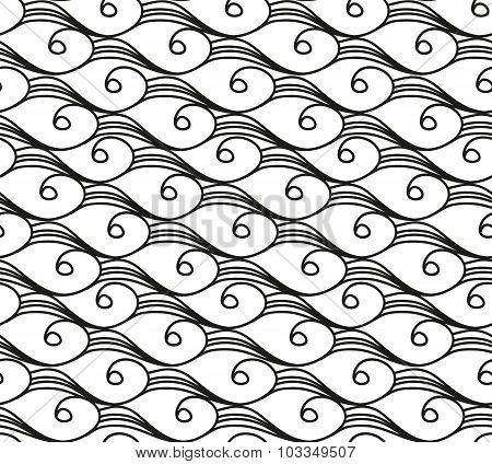 Seamless pattern with spiral doodle waves