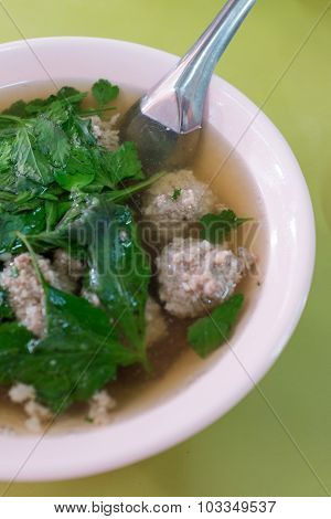 Thai style soup with minced pork ball