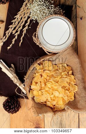 Corn Flake And Milk In Glass