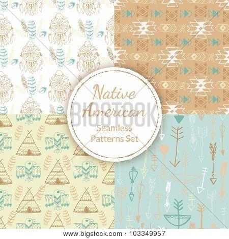 Native American Seamless Patterns Set