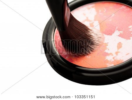Glamour Blush With Brush Closeup Isolated On White Background