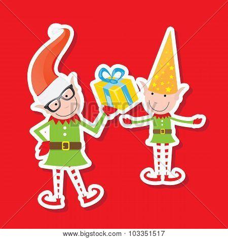 Illustration of the playful Santa elves