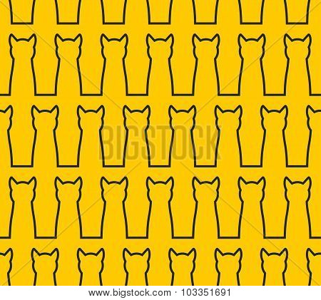 Linear Silhouette Cat Seamless Pattern. Background Of  Pet. Black Cats On Yellow Background. Texture