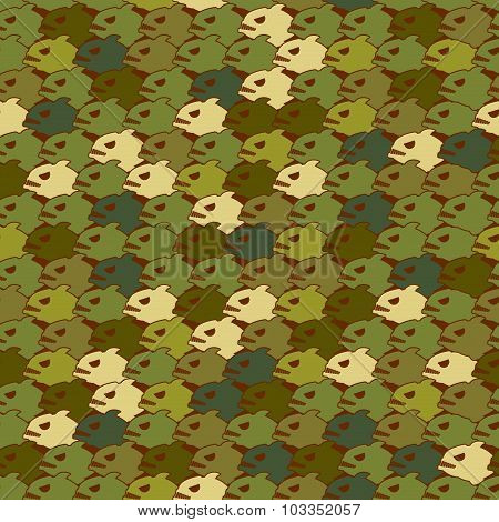Military Texture From Piranha. Army Seamless Pattern Evil Fish. Soldier Protective Camouflage Of Mar