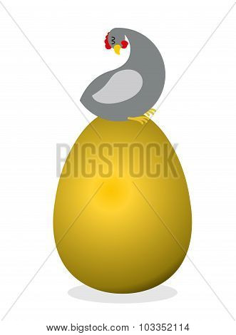 Chicken On  Big  Golden Egg. Bird Nests Precious Eggs. Farm Bird Carries  Eggs Of Precious Metal. Sy