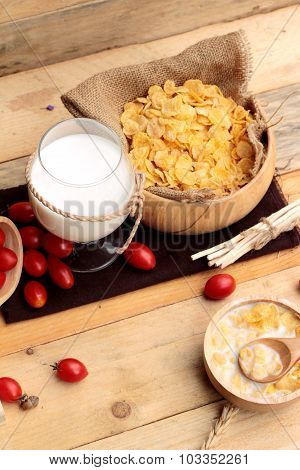 Corn Flake And Milk With Fresh Cherry Tomatoes.