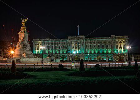 Buckingham Palace In London At Night