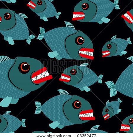 Toothy Fish Seamless Background. Evil Piranhas In Sea. Vector Ornament Sea Creatures.