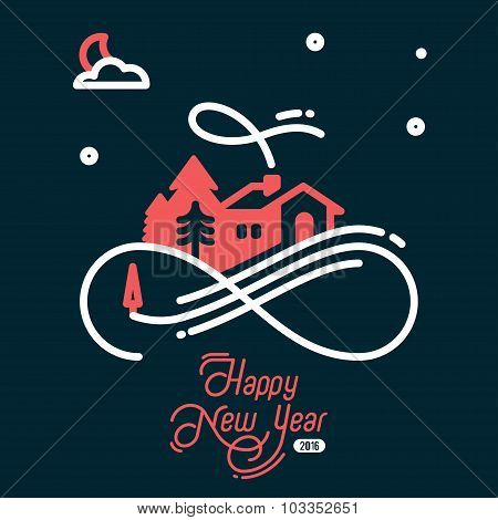 Illustration Christmas night with calligraphic design elements and stylish text.