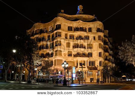 Night View Of Casa Mila, Barcelona
