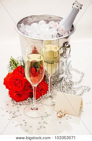 Champagne Glasses With Writing Card